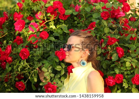 girl in sunglasses  red rose flowers background #1438159958