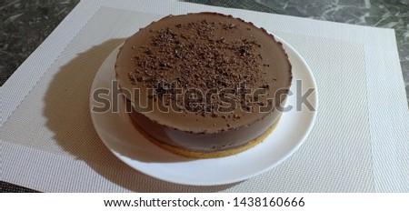 Chocolate mousse Lava Cake on white dish - Image #1438160666