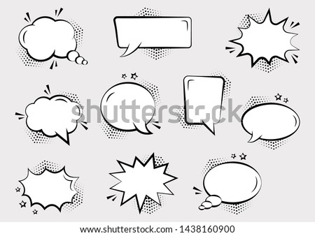 Set of empty comic speech bubbles different shapes with halftone shadows and stars, hand drawn. Sound effects in pop art style. Vector illustration #1438160900