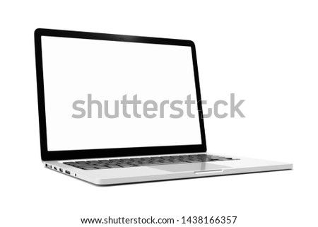 Laptop computer with blank white screen isolate on white background. screen mockup template #1438166357
