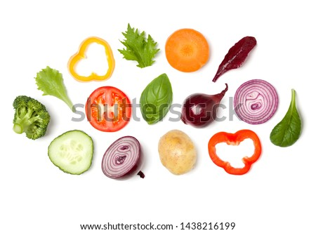 Creative layout made of tomato slice, onion, cucumber, basil leaves. Flat lay, top view. Food concept. Vegetables isolated on white background. Food ingredient pattern. #1438216199