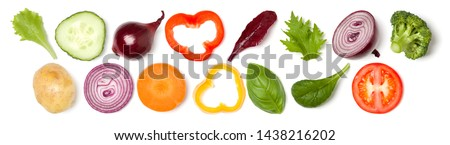 Creative layout made of tomato slice, onion, cucumber, basil leaves. Flat lay, top view. Food concept. Vegetables isolated on white background. Food ingredient pattern. Banner. #1438216202