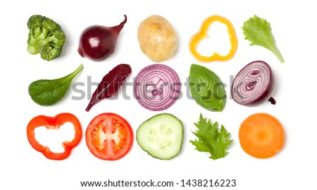 Creative layout made of tomato slice, onion, cucumber, basil leaves. Flat lay, top view. Food concept. Vegetables isolated on white background. Food ingredient pattern. #1438216223