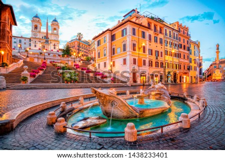 Piazza de Spagna in Rome, italy. Spanish steps in the morning. Rome architecture and landmark. #1438233401