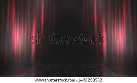 Empty background scene. Dark street reflection on wet asphalt. Rays of neon light in the dark, neon figures, smoke. Background of empty stage show. Abstract dark background. #1438250552