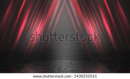 Empty background scene. Dark street reflection on wet asphalt. Rays of neon light in the dark, neon figures, smoke. Background of empty stage show. Abstract dark background. #1438250561