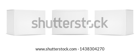 White box packaging set, realistic isolated white background, vector illustration Royalty-Free Stock Photo #1438304270