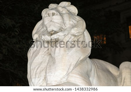 Patience and Fortitude lion at entrance to the New York City Public Library in Midtown Manhattan. #1438332986