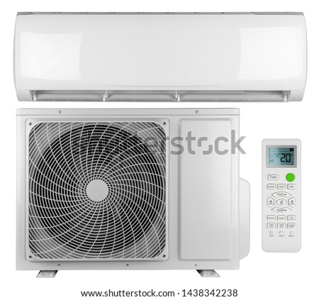 Set collection of air conditioner ac inverter heat pump mini split system with indoor outdoor unit and remote control isolated on white background Royalty-Free Stock Photo #1438342238