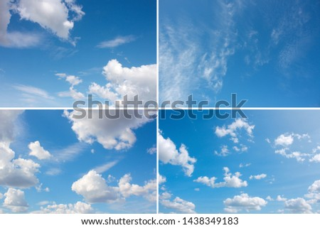 set of blue heaven with fluffy clouds backgrounds #1438349183