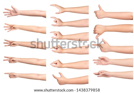 Set of woman hand isolated on white background. #1438379858