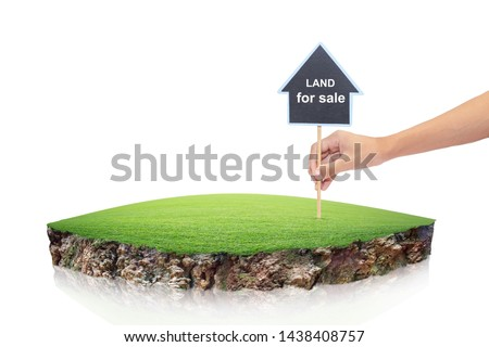 round soil ground cross section with earth land. House symbol with location pin and green grass in real estate sale or property investment concept, Buying new home isolated on White Background Royalty-Free Stock Photo #1438408757