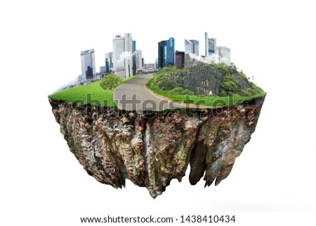 round soil ground cross section with earth land and  modern city  . fantasy floating island with natural on the rock, surreal float landscape with paradise concept isolated on white background #1438410434