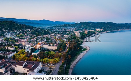 Evening resort town Sukhum, Abkhazia aerial view from drone. #1438425404