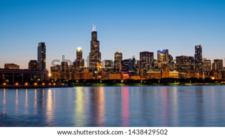 Wide angle view over the Chicago skyline in the evening - CHICAGO, ILLINOIS - JUNE 12, 2019 #1438429502