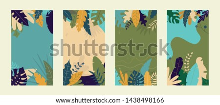 Vector set of abstract tropical backgrounds, social media stories wallpapers - tropical landscapes. Can use for smartphone template, mobile app, poster, gift card, coupon #1438498166