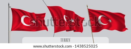 Set of Turkey waving flag on isolated background vector illustration. 3 red Turkish  wavy realistic flag as a patriotic symbol  #1438525025