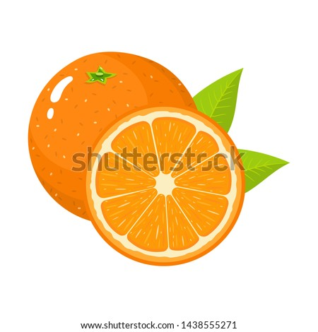 Set of fresh whole and half orange fruit with leaves isolated on white background. Tangerine. Organic fruit. Cartoon style. Vector illustration for any design. #1438555271