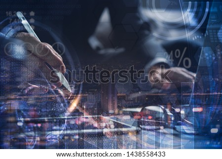 BI Business intelligence, Business analysis, smart office, digital technology concept. Businessman working on digital tablet and laptop computer, financial graph, marketing report on virtual screen #1438558433