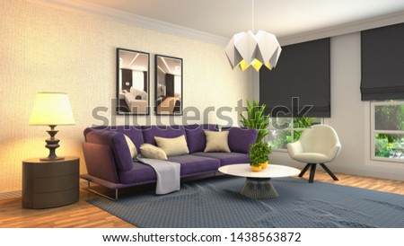 Interior of the living room. 3D illustration. #1438563872