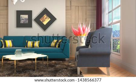 Interior of the living room. 3D illustration. #1438566377