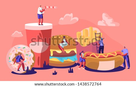 Tiny Male and Female Characters Interacting with Fastfood. Huge Burger, Hot Dog with Mustard, French Fries, Donut, Soda Drink. People Eating Street Fast Food Cafe Meal Cartoon Flat Vector Illustration #1438572764