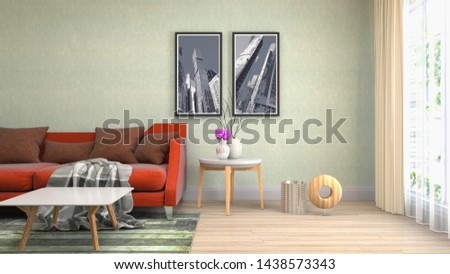 Interior of the living room. 3D illustration. #1438573343