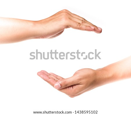 Empty human hands showing gestures to protect, insurance, and security in life and property isolated on white background. Royalty-Free Stock Photo #1438595102