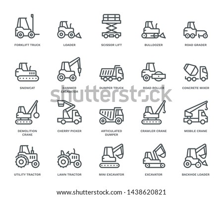 Industrial Vehicles Icons,  Monoline concept The icons were created on a 48x48 pixel aligned, perfect grid providing a clean and crisp appearance. Adjustable stroke weight.  Royalty-Free Stock Photo #1438620821