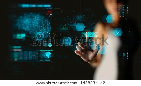 businesswoman hand working with project manager and icons about planning tasks and milestones on schedule, cost management of Ui computer #1438634162