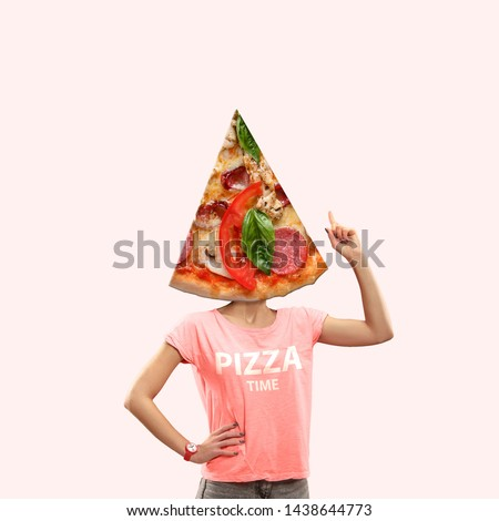 It's time for lunch or pizza on thoughts of a woman against coral background. Negative space to insert your text or ad. Modern design. Contemporary art. Creative conceptual and colorful collage. #1438644773