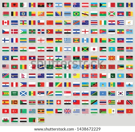 All national flags of the world stickers with names. Stickers flags. High quality vector flag isolated on gray background #1438672229