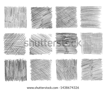 Sketch hatching. Pen doodle freehand line strokes chalk scribble black line sketch grunge handmade vector abstract textures. Scribble chalk, sketch freehand line drawing illustration #1438674326