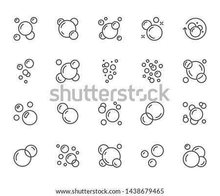 Bubbles flat line icons set. Soap foam, fizzy drink, oxygen bubble pictogram, effervescent effect vector illustrations, outline signs. Editable Strokes. #1438679465