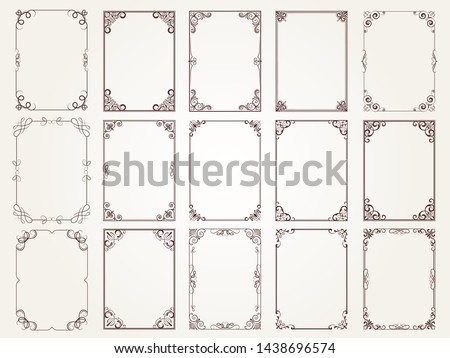 Calligraphic frames. Borders corners ornate frames for certificate floral classic vector designs collection. Illustration of filigree border card, floral rectangular frame #1438696574