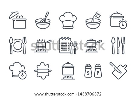 Cooking related line icon set. Pot, pan and kitchen utensils linear icons. Cooking recipe outline vector signs and symbols collection. #1438706372