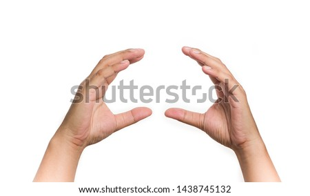 Empty hands showing gesture holding burger, sandwich or some food isolated on white background. #1438745132