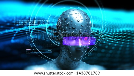 Futuristic Humanoid Robot Analyzing Hud Data - Technology Related 3D Illustration Render Concept #1438781789