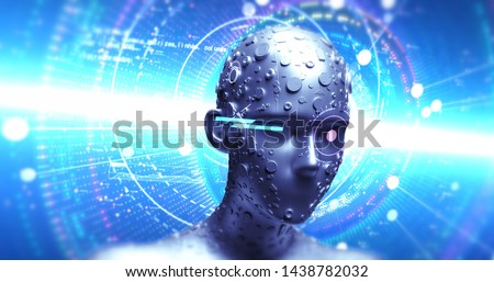 Stylish Advanced AI Robot Deep Learning - Technology Related 3D Illustration Render Concept #1438782032