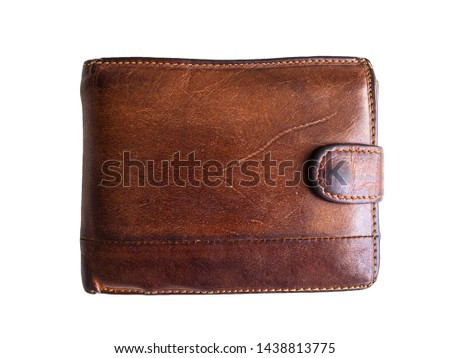 Old shabby and scratched wallet. Wallet brown on white background. Men's wallet Royalty-Free Stock Photo #1438813775