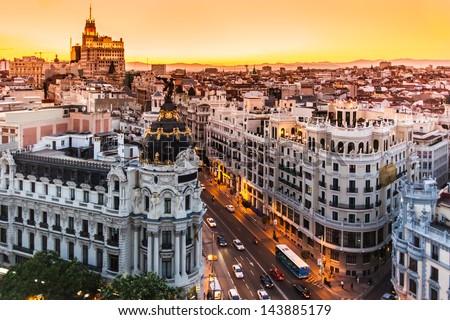 Panoramic aerial view of Gran Via, main shopping street in Madrid, capital of Spain, Europe. #143885179