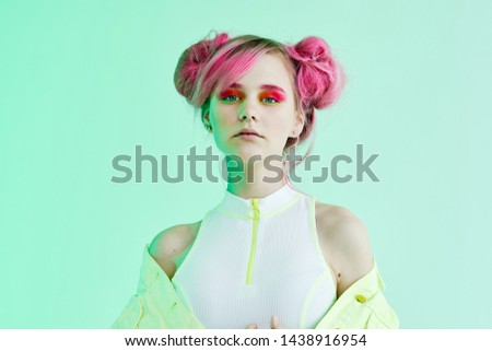 neon makeup hairstyle woman with pink hair portrait