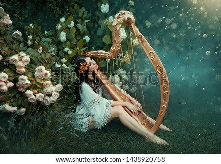 charming lady with dark black hair sits on the frozen grass alone with light white fog, forest nymph with haze plays harp, girl in simple shirt and with bare legs near rose bush, creative photo #1438920758