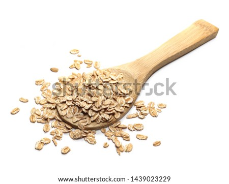 Spelta flakes, rye grain cereal for breakfast in wooden spoon isolated on white background #1439023229