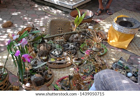 Set of traditional Balinese offerings to Hindu Gods. #1439050715