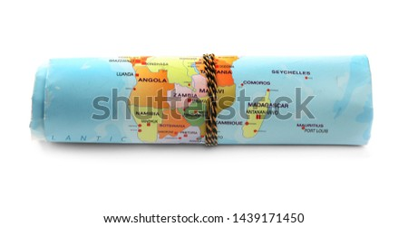Rolled world map on white background. Camping equipment #1439171450