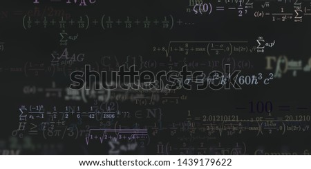 Mathematics and physics. 2d illustration. Set of mathematical formula on constant background. #1439179622