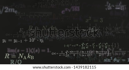 Mathematics and physics. 2d illustration. Set of mathematical formula on constant background. #1439182115