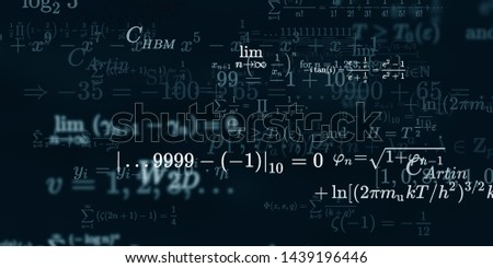 Mathematics and physics. 2d illustration. Set of mathematical algorithms on constant background. Symbols on dark surface. #1439196446