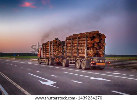 A loaded timber truck transports timber logs with an overload on the highway, black smoke. The concept of transportation of timber and wood, copy space, business #1439234270